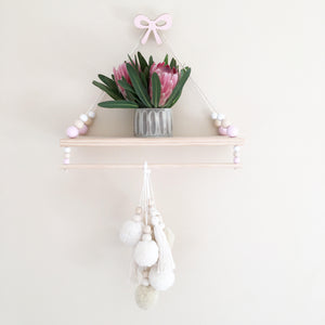 Essentially Raw Swing Shelf with Rail- you choose bead colours