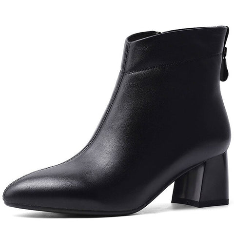 Cow Leather New Fashion Chunky Heels, Ankle Boots For Women