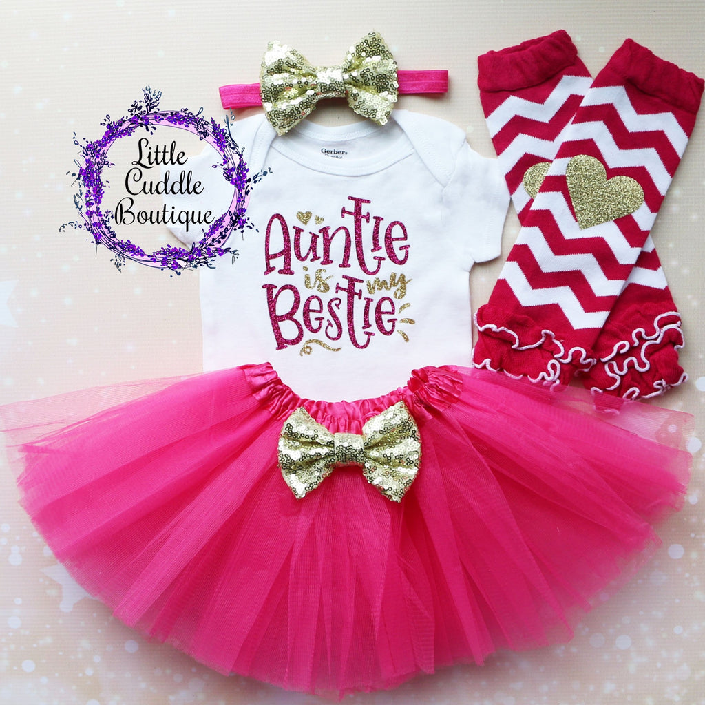 Auntie Is My Bestie Baby Tutu Outfit