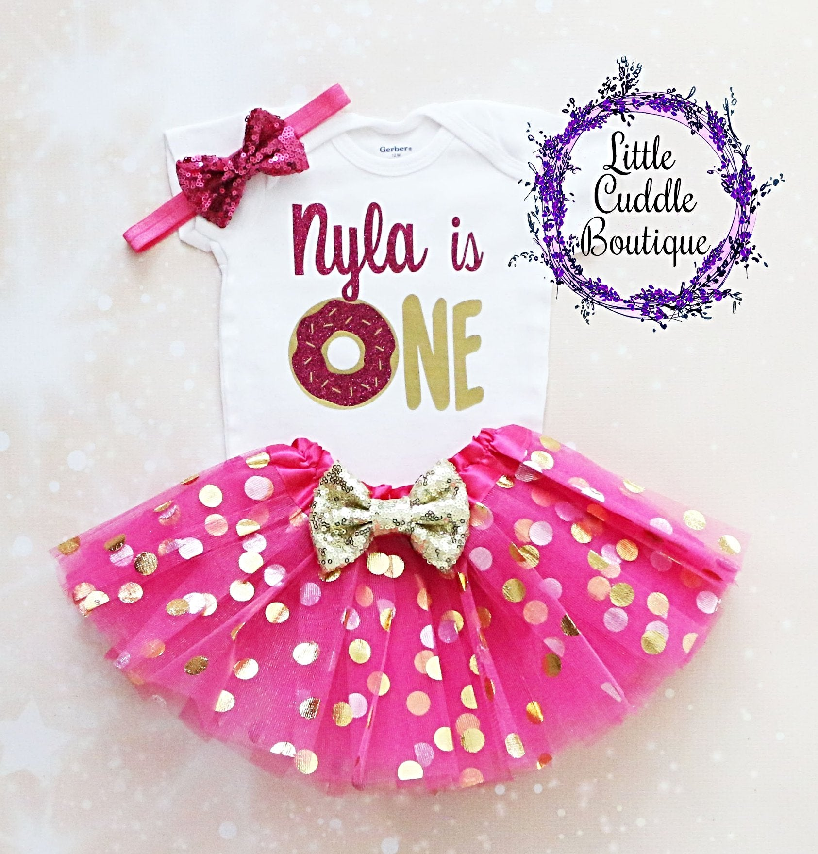 7bcce3104 Personalized Donut First Birthday Tutu Outfit-Little Cuddle Boutique