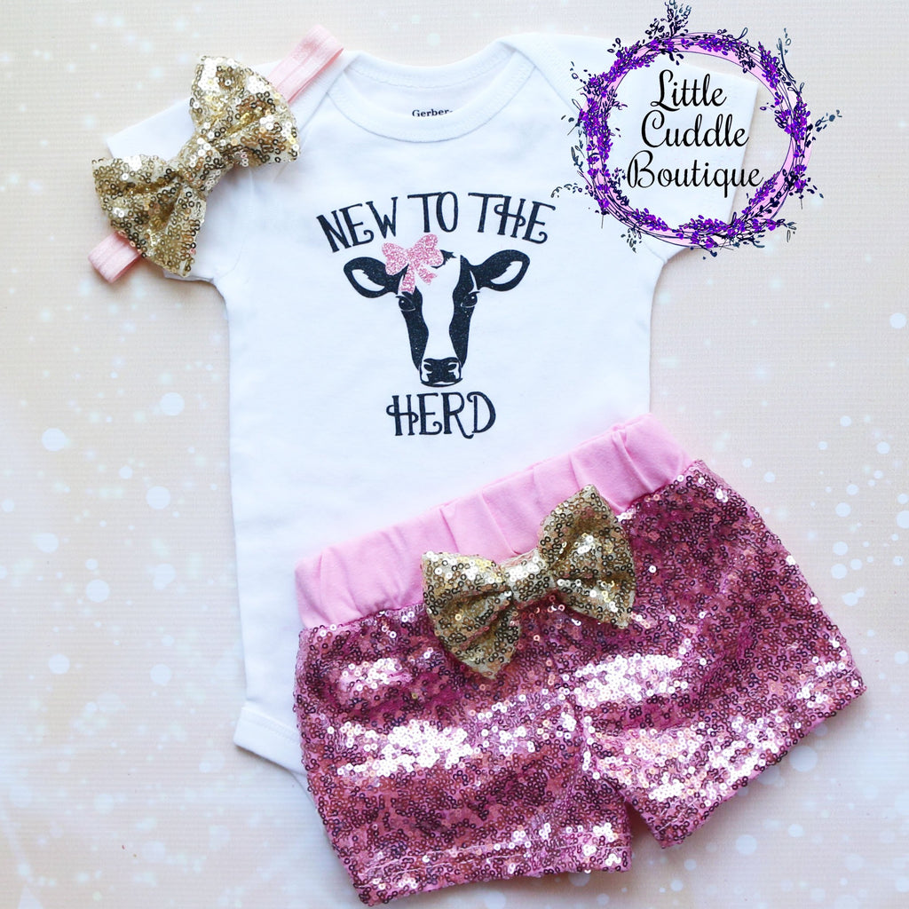 New To The Herd Baby Shorts Outfit