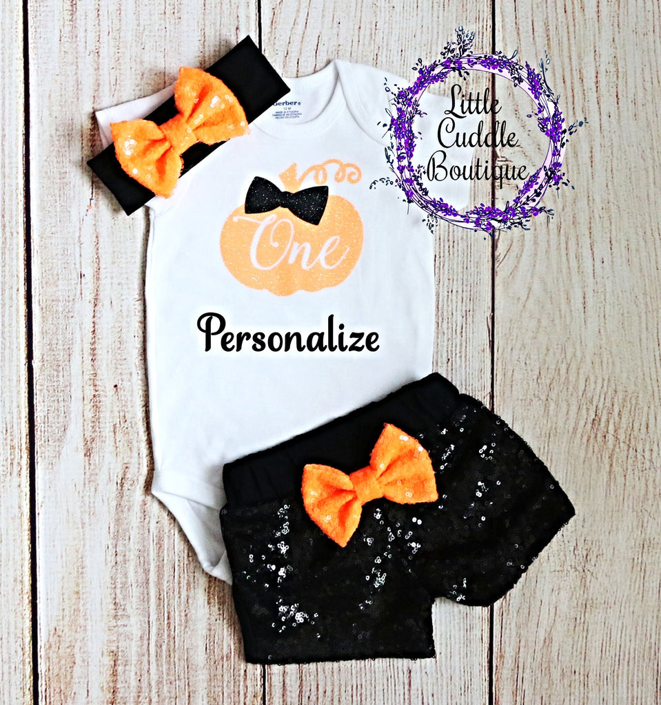 Personalized Pumpkin First Birthday Shorts Outfit