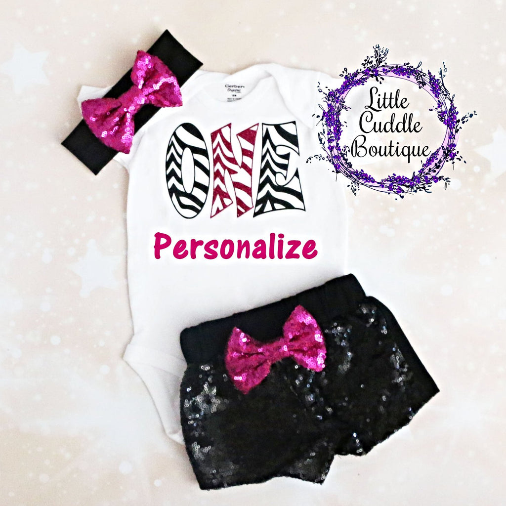 Personalized Zebra Birthday Shorts Outfit