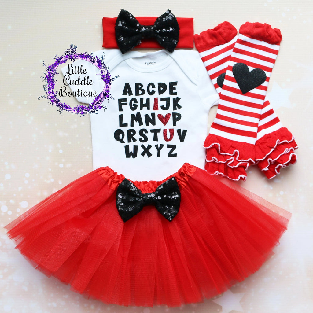 Alphabet I Love You Baby Tutu Outfit