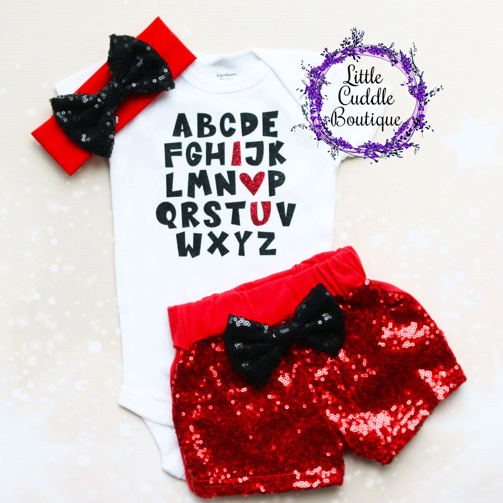 Alphabet I Love You Baby Shorts Outfit