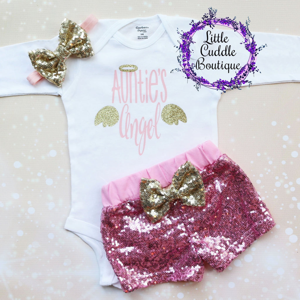 Auntie's Angel Baby Shorts Outfit