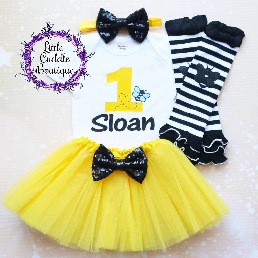 Personalized Bumble Bee Birthday Tutu Outfit