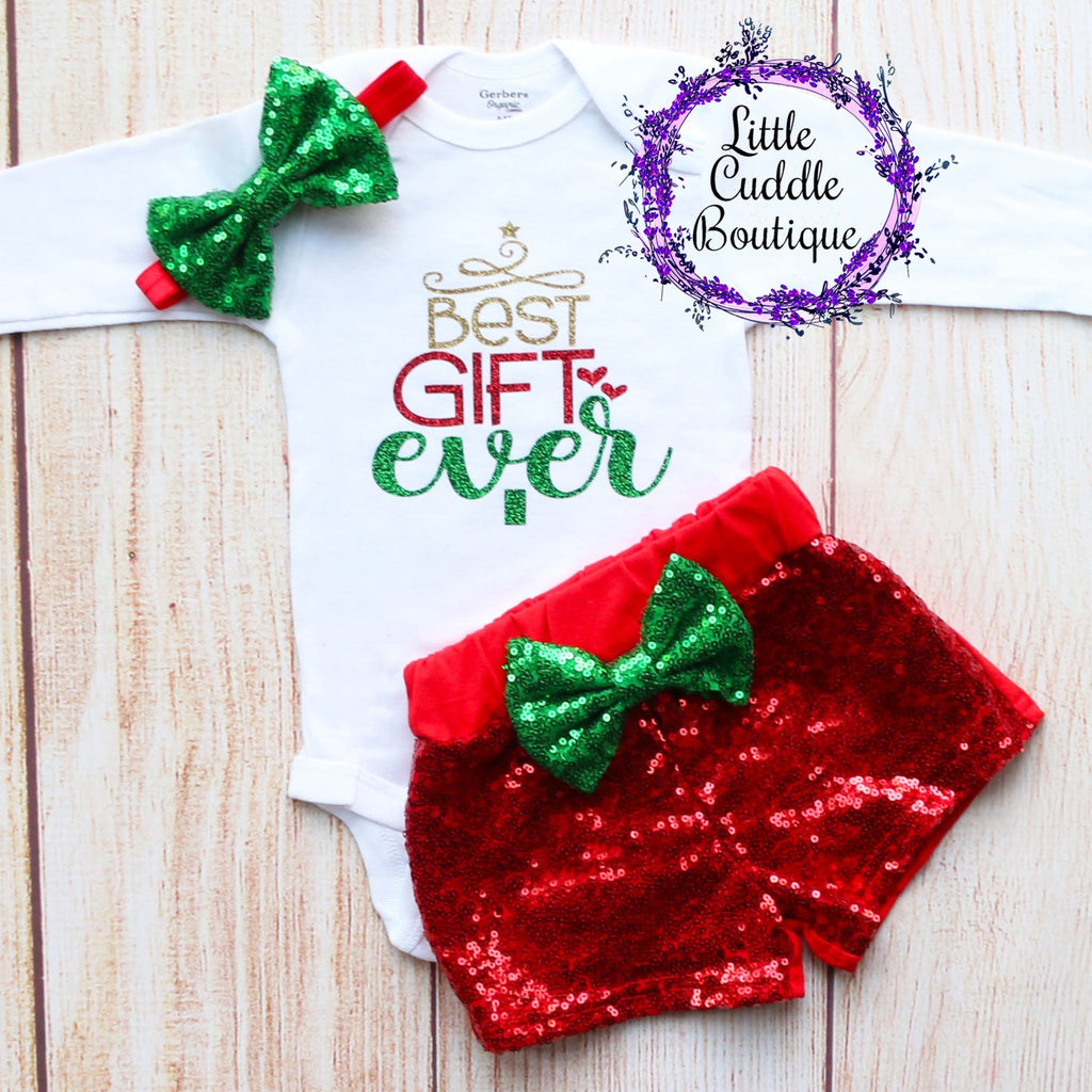 Best Gift Ever Christmas Baby Shorts Outfit