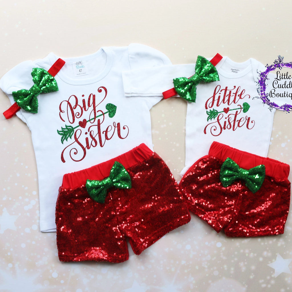 Big Sister Little Sister Christmas Shorts Outfits