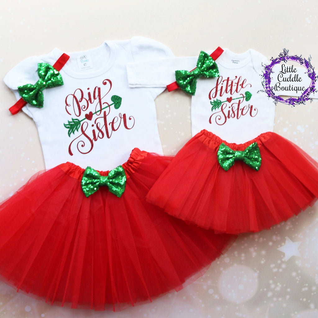 Big Sister Little Sister Christmas Tutu Outfits