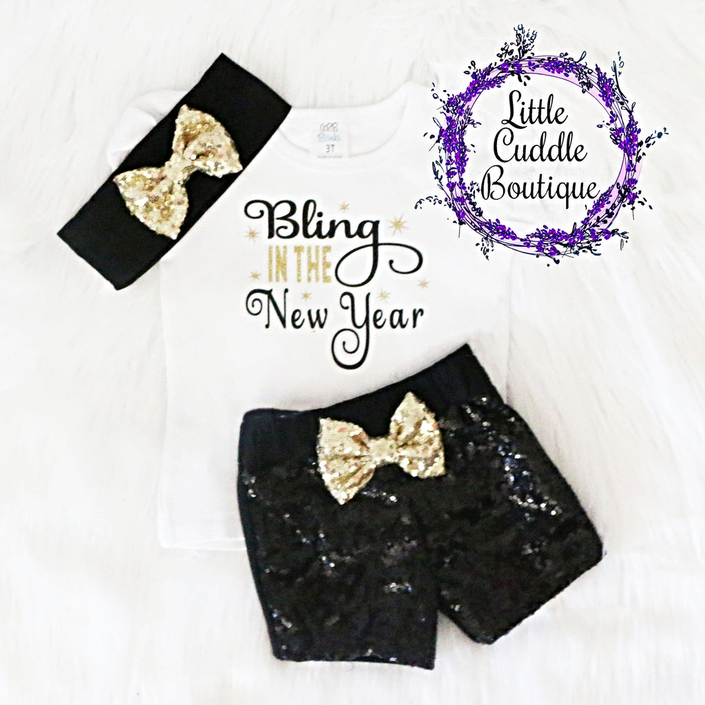 Bling In The New Year Toddler Shorts Outfit