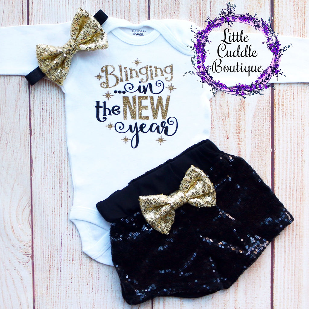 Blinging In The New Year Baby Shorts Outfit