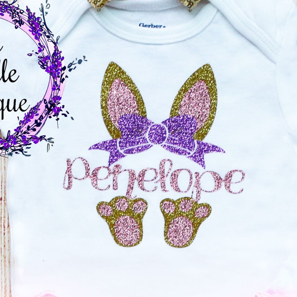 Personalized Bunny Ears Easter Outfit