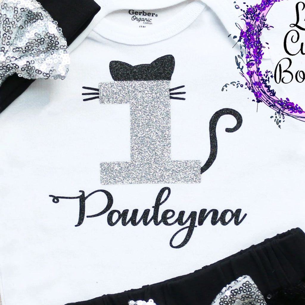 Personalized Cat Birthday Shorts Outfit