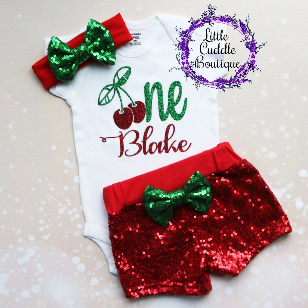 Personalized Cherry First Birthday Shorts Outfit