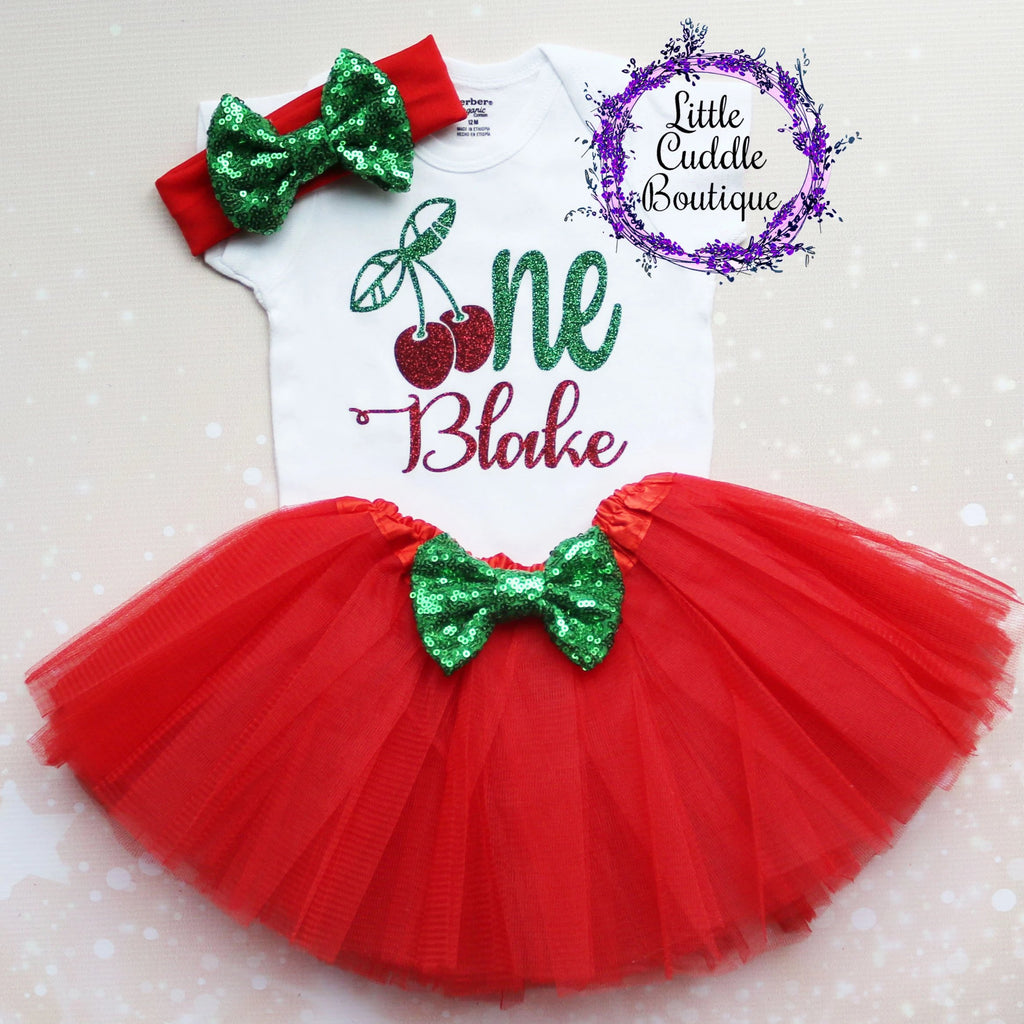 Personalized Cherry First Birthday Tutu Outfit
