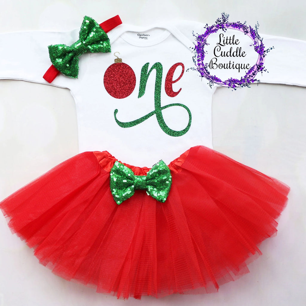 Christmas First Birthday Baby Outfit