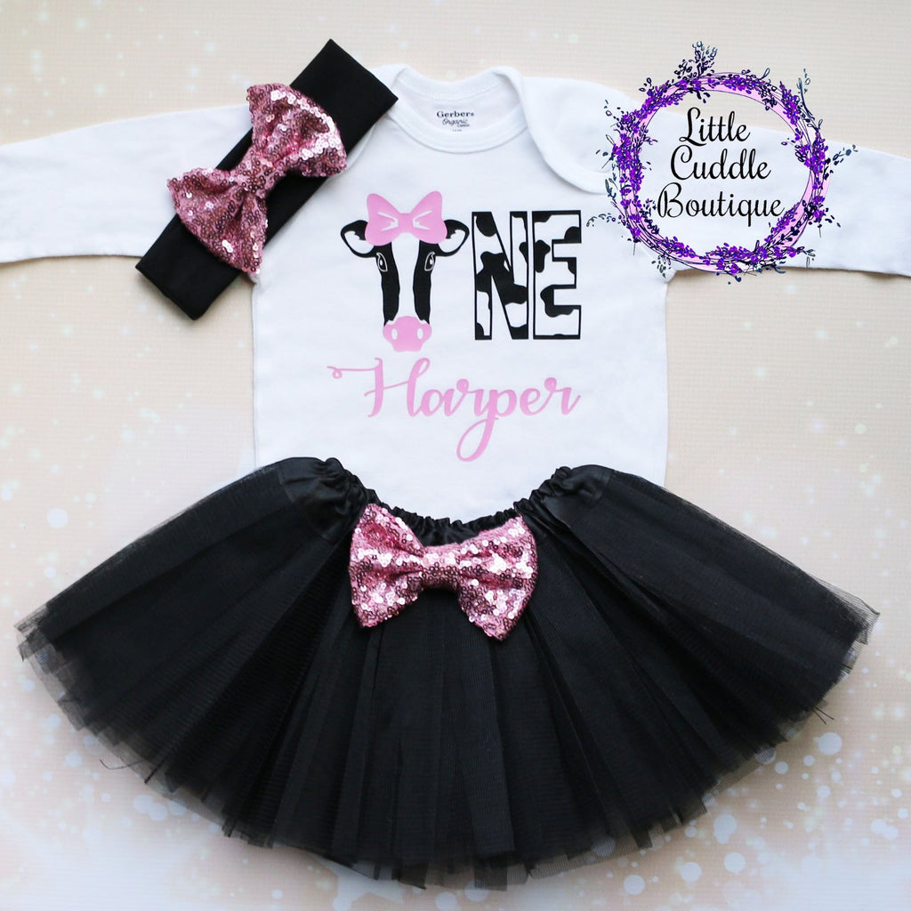 Personalized Cow Birthday Tutu  Outfit