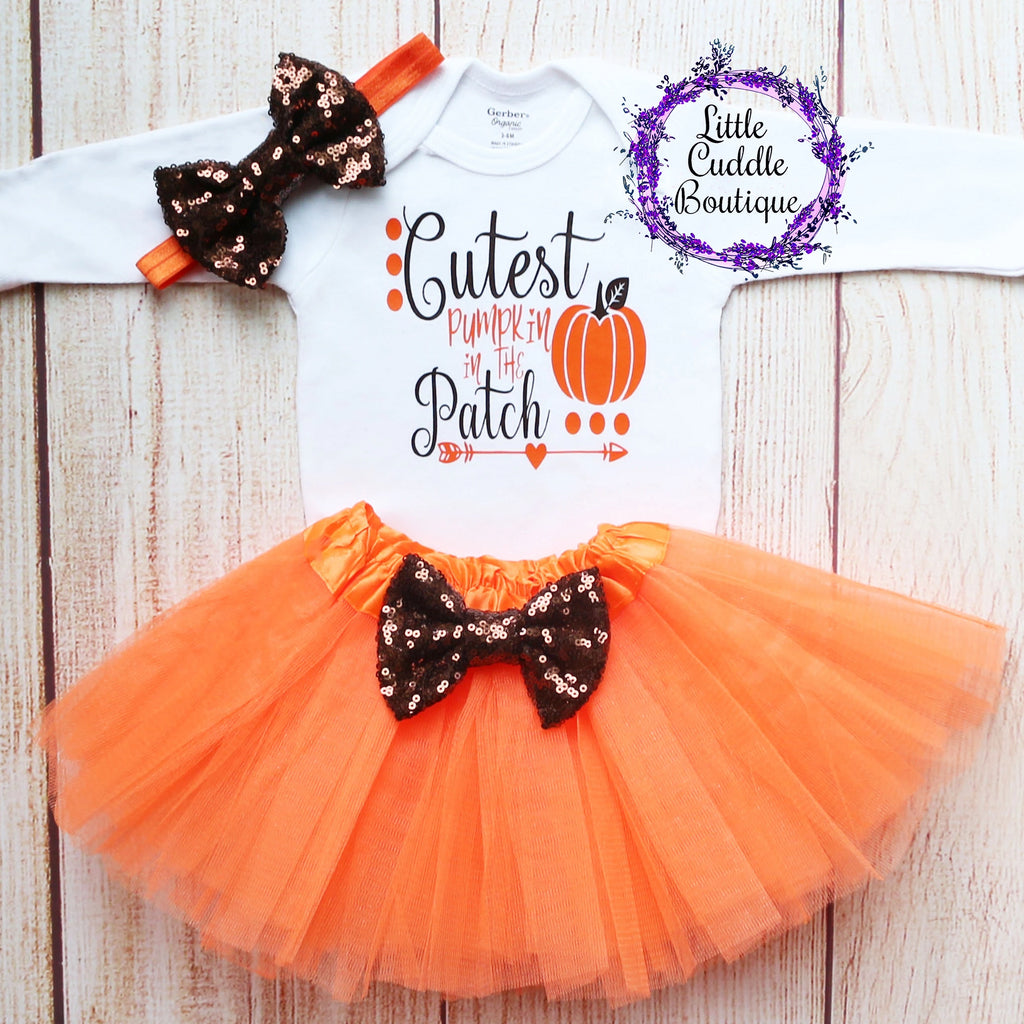 Cutest Pumpkin In The Patch Thanksgiving Baby Tutu Outfit