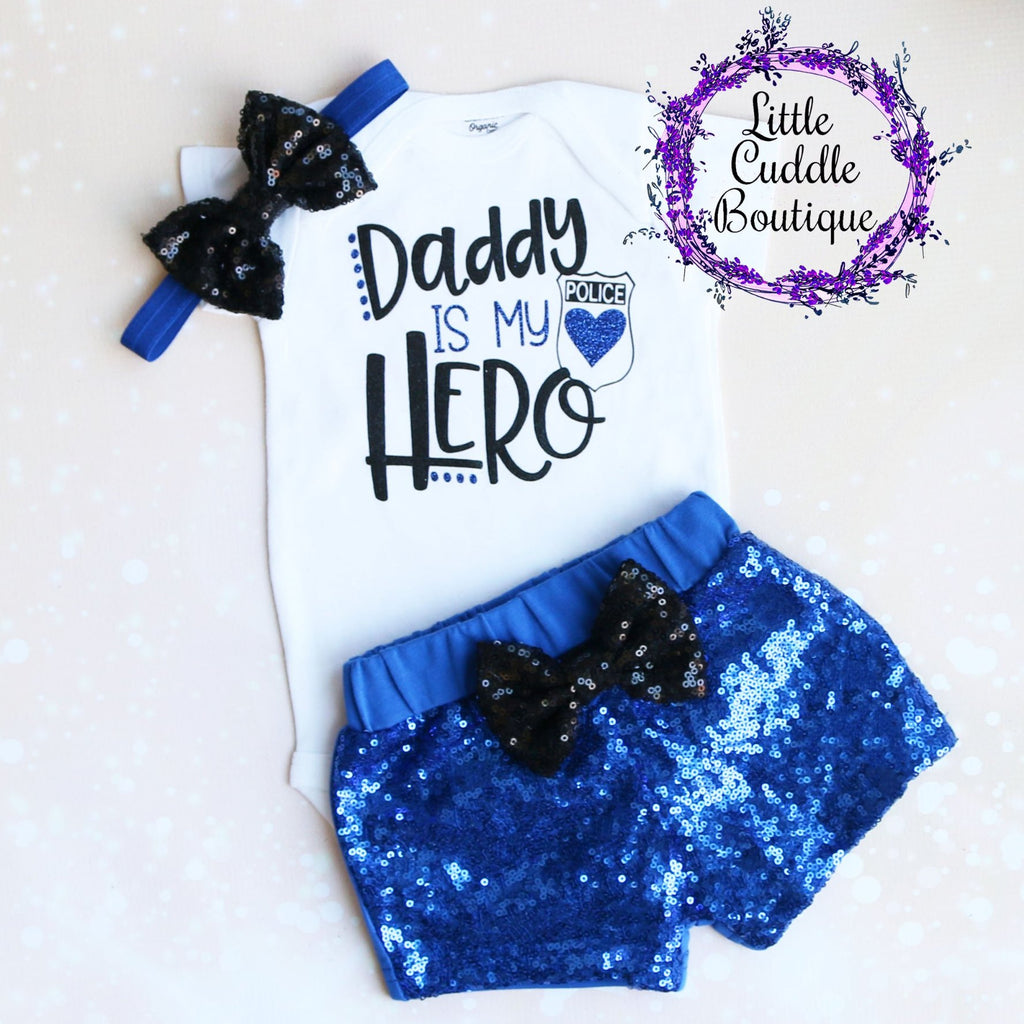 Daddy Is My Hero Police Shorts Outfit
