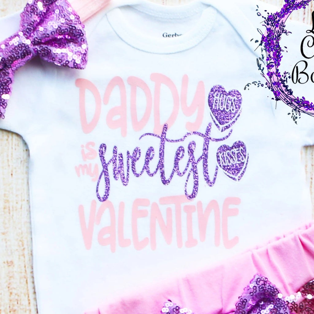 Daddy Is My Sweetest Valentine Shorts Outfit