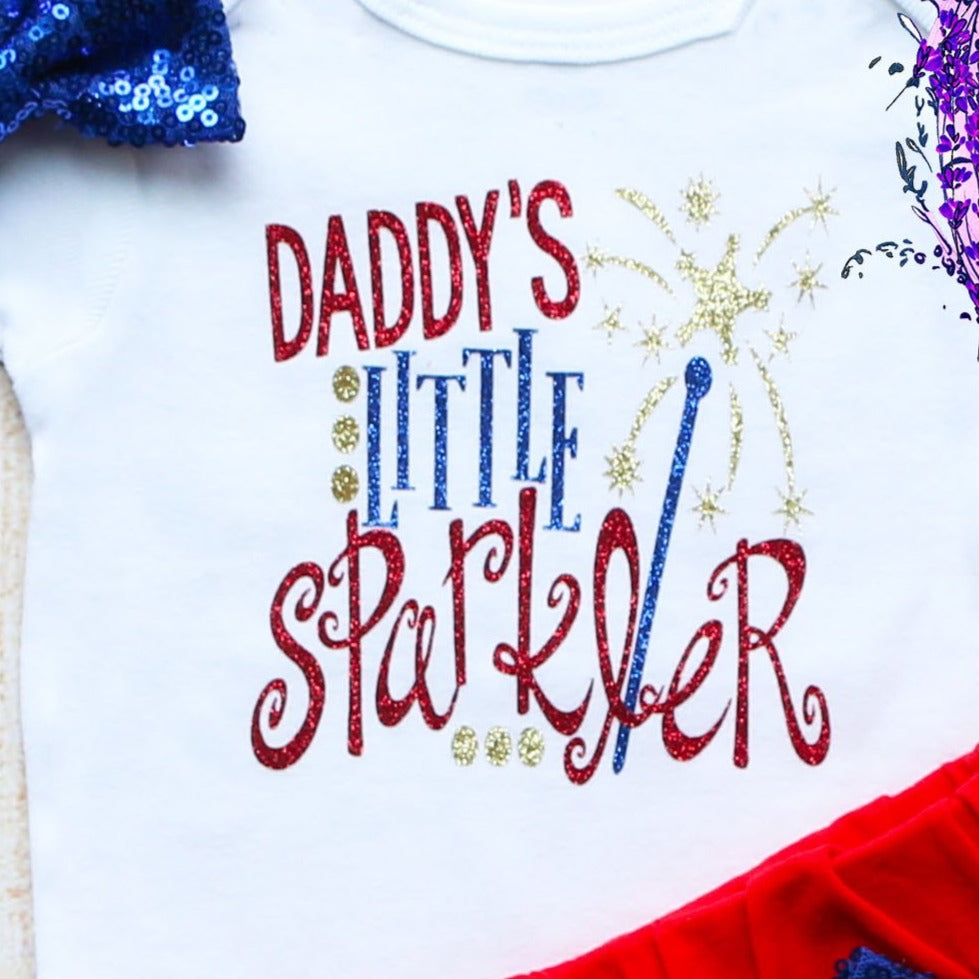 Daddy's Little Sparkler Fourth of July Outfit