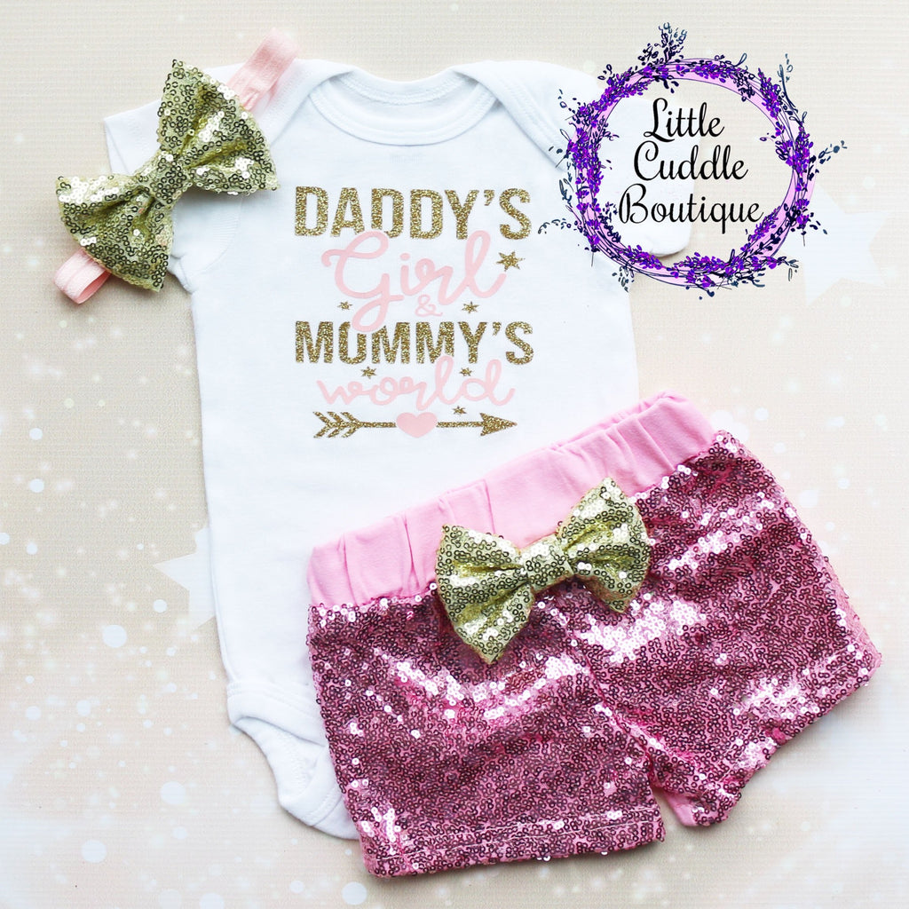 Daddy's Girl & Mommy's World Baby Shorts Outfit