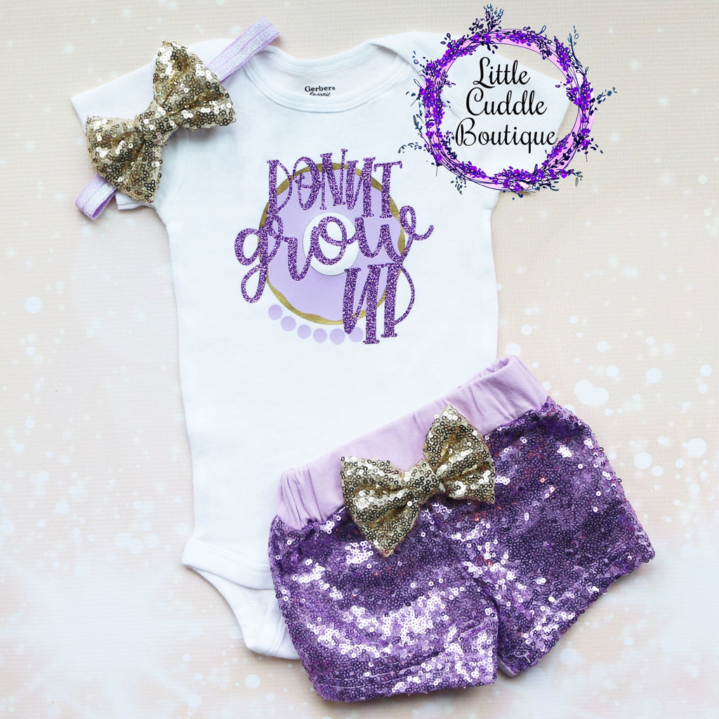 Donut Grow Up First Birthday Shorts Outfit