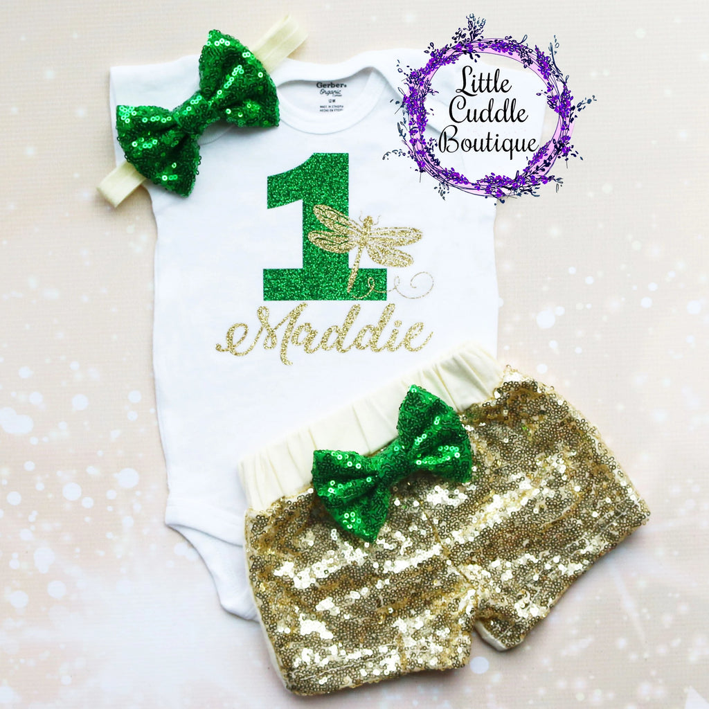 Personalized Dragonfly First Birthday Shorts Outfit