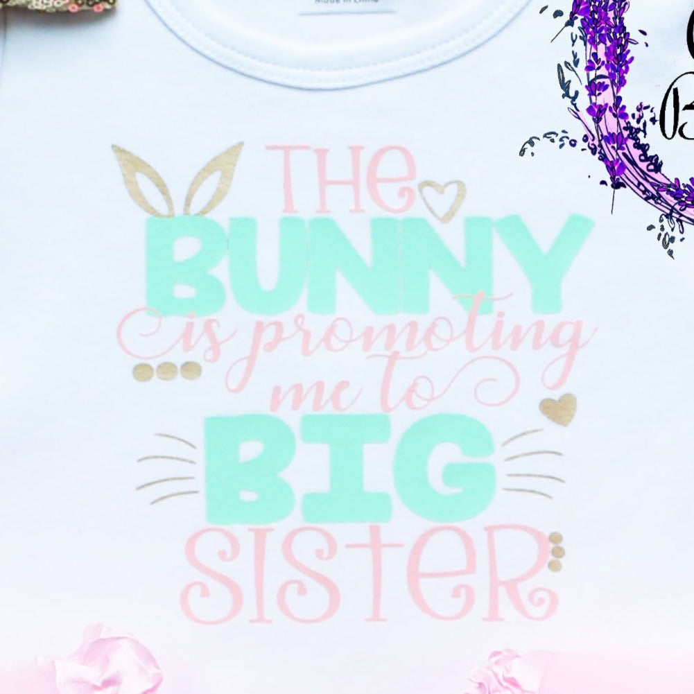 The Bunny Is Promoting Me To Big Sister Toddler Easter Tutu Outfit