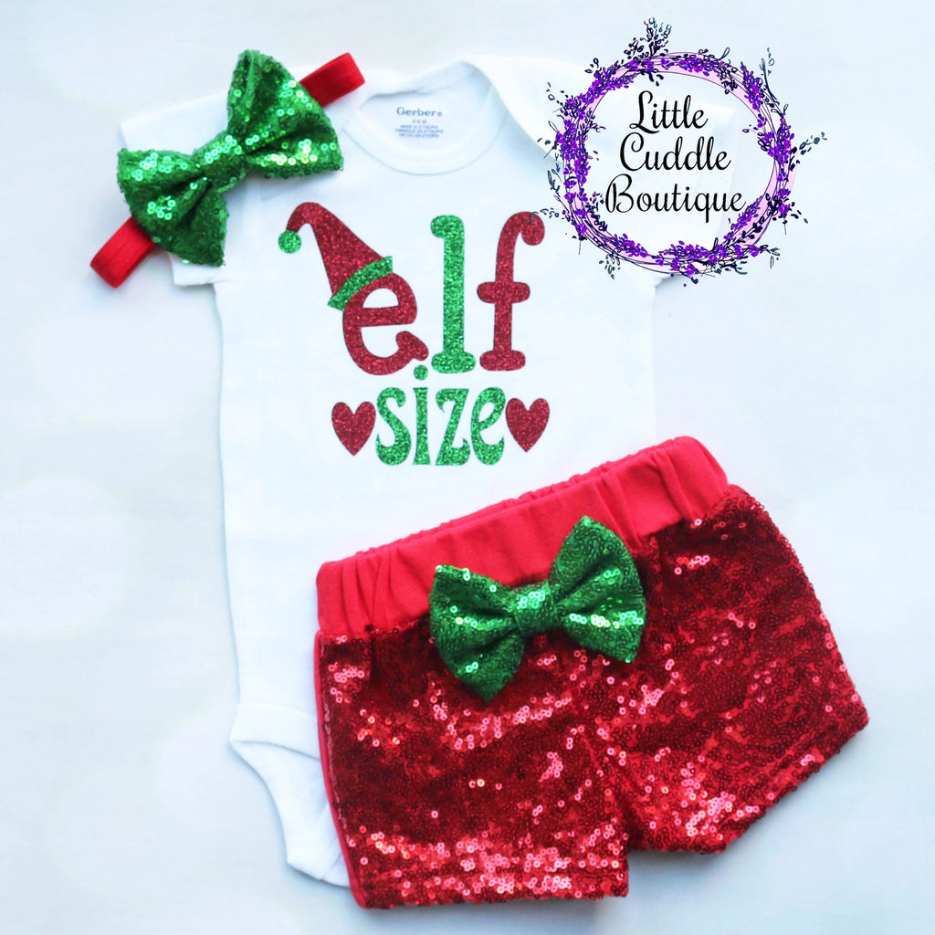 Elf Size Christmas Baby Shorts Outfit
