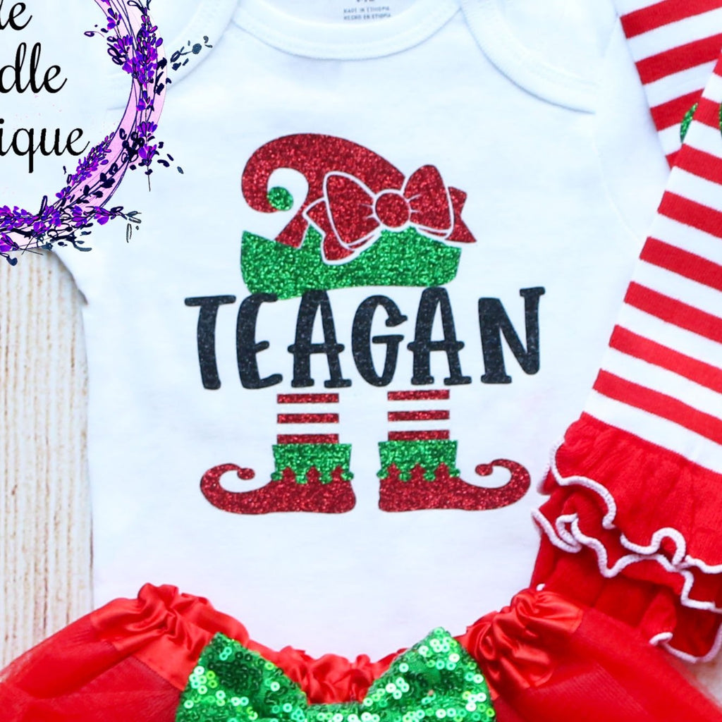 Personalized Elf Christmas Baby Tutu Outfit