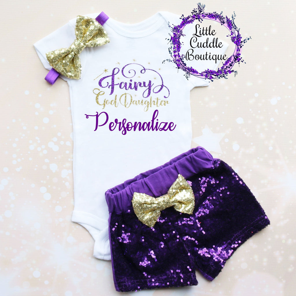 Personalized Fairy God Daughter Baby Shorts Outfit