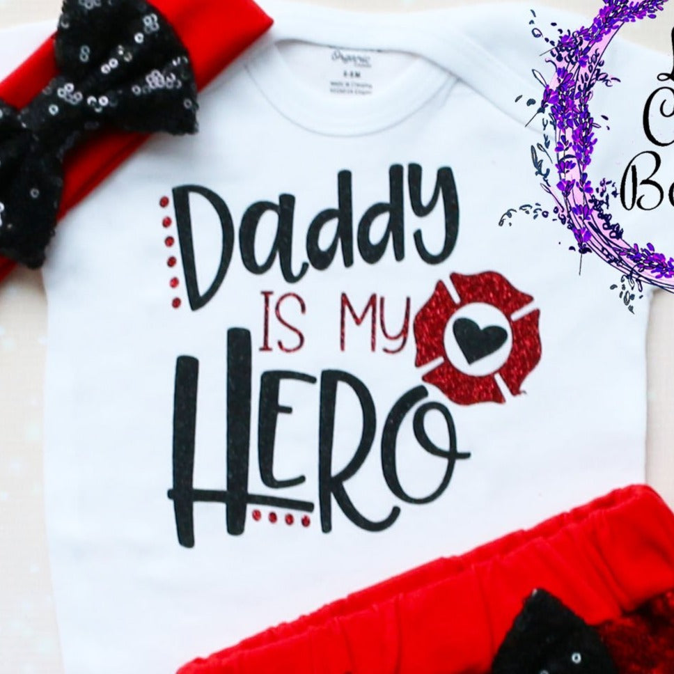 Daddy Is My Hero Firefighter Shorts Outfit