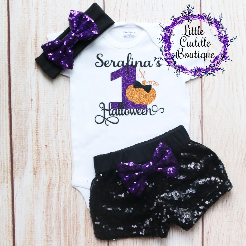 Personalized First Halloween Shorts Outfit