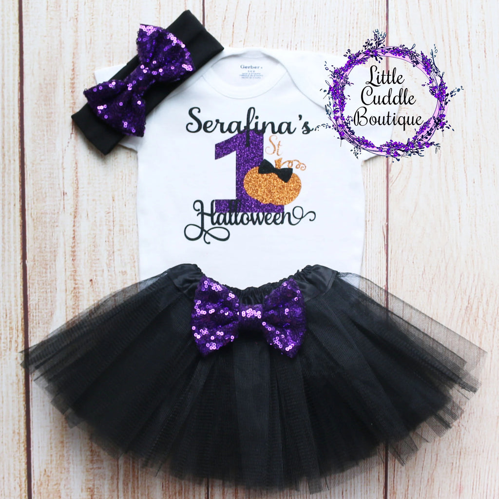 Personalized First Halloween Tutu Outfit