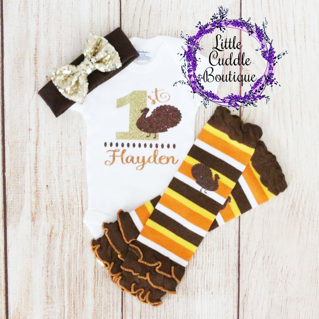 Personalized First Thanksgiving Baby Girl Outfit