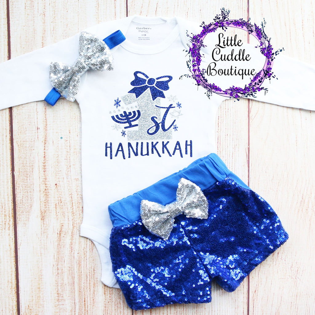 First Hanukkah Baby Shorts Outfit