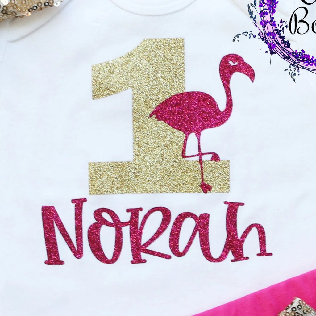 Personalized Flamingo First Birthday Shorts Outfit