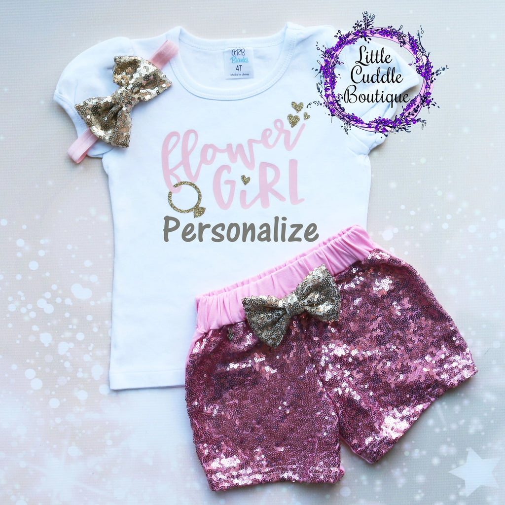 Personalized Flower Girl Shorts Outfit