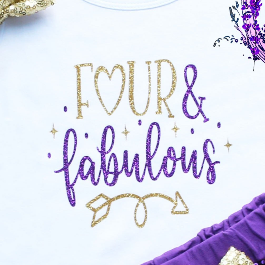 Four & Fabulous Birthday Shorts Outfit