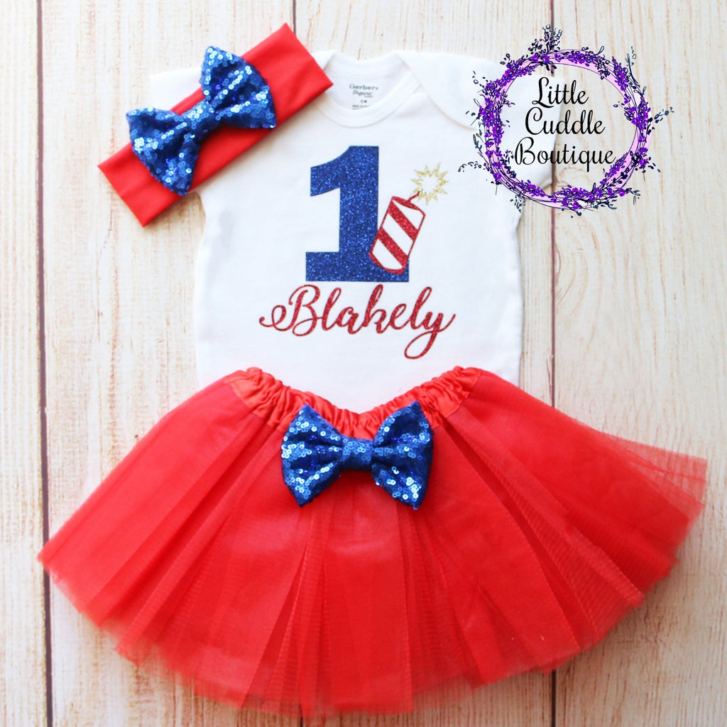 Personalized Fourth Of July Birthday Tutu Outfit