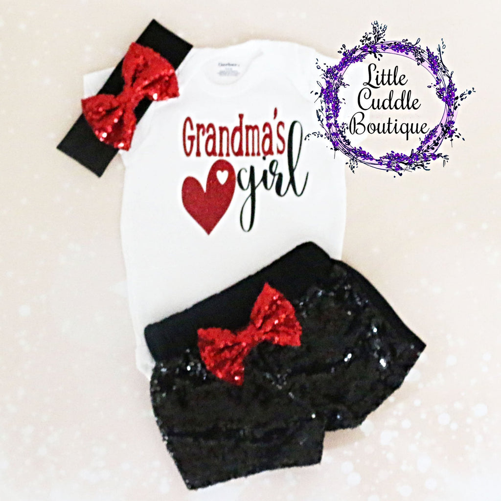 Grandma's Girl Baby Shorts Outfit