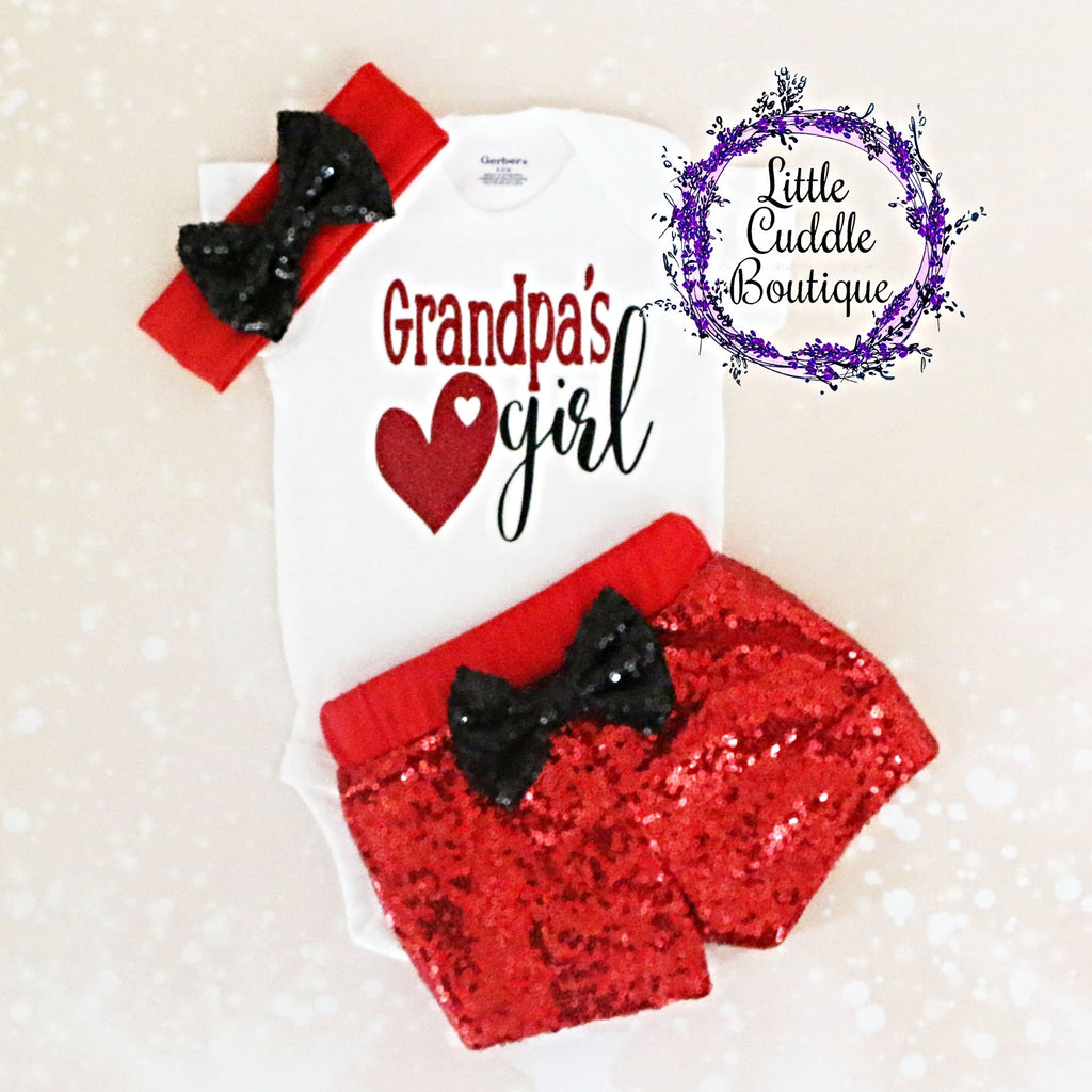 Grandpa's Girl Baby Shorts Outfit