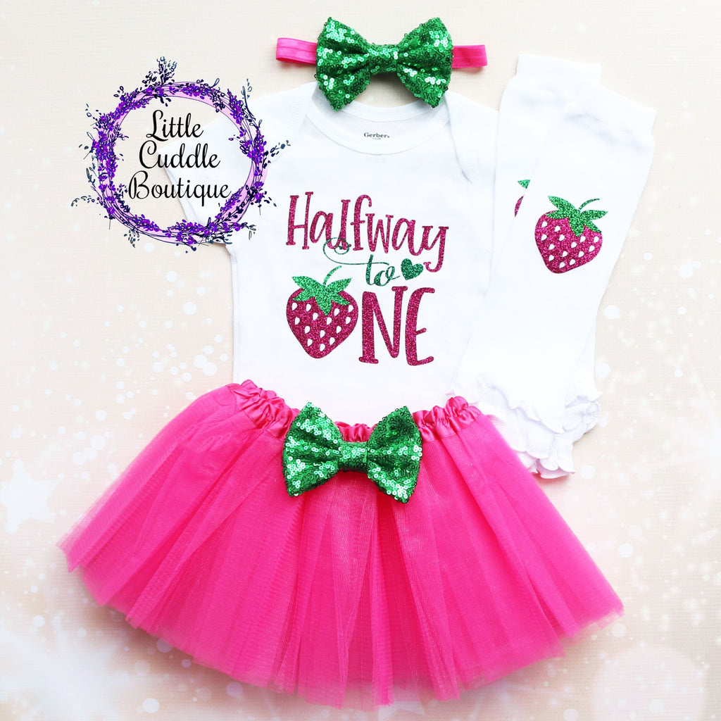 Halfway To One Strawberry Baby Tutu Outfit