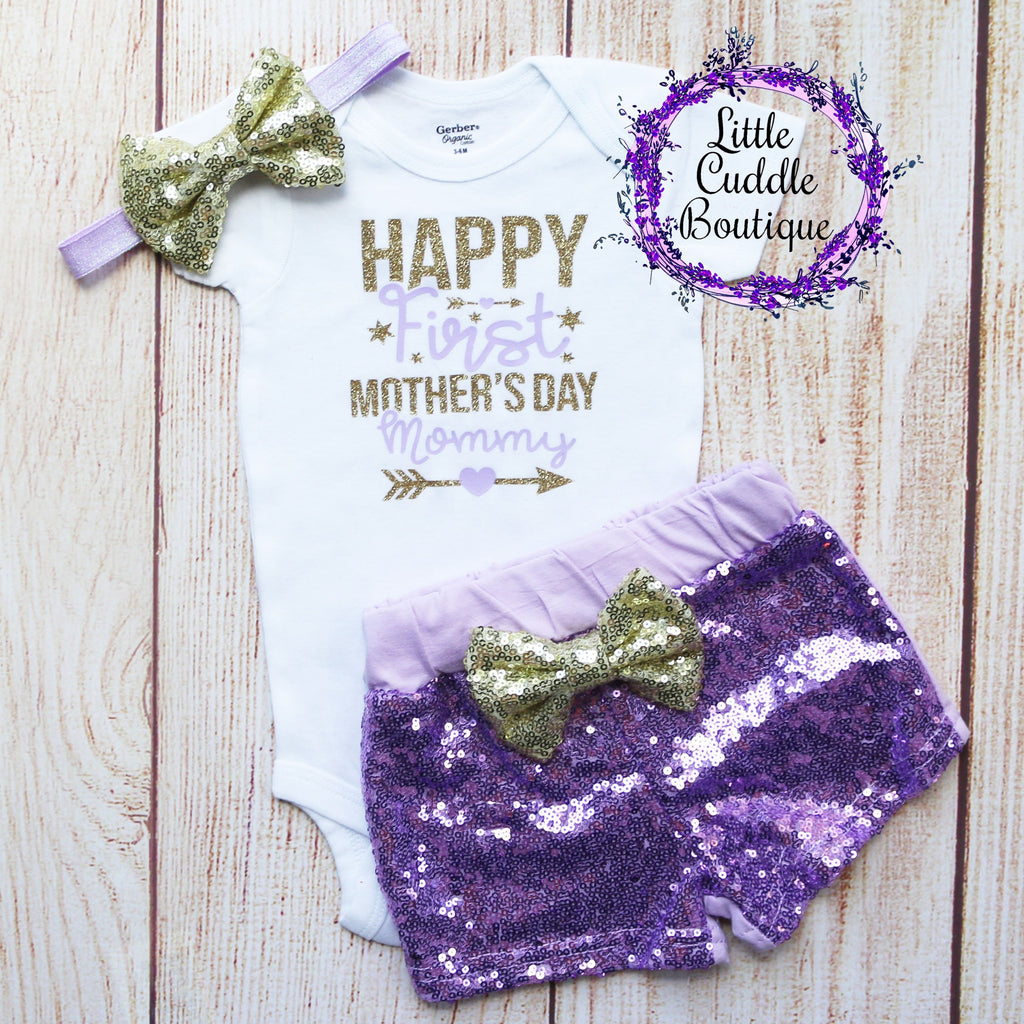 Happy First Mother's Day Baby Shorts Outfit