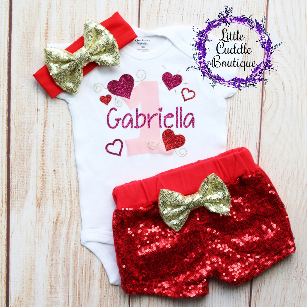 Personalized Valentine's Day 1st Birthday Outfit