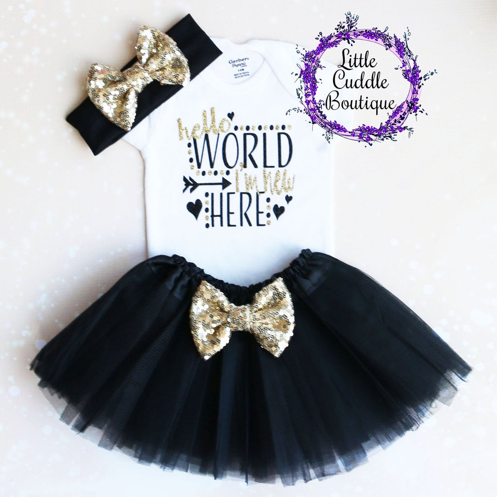 Hello World I'm New Here Baby Tutu Outfit