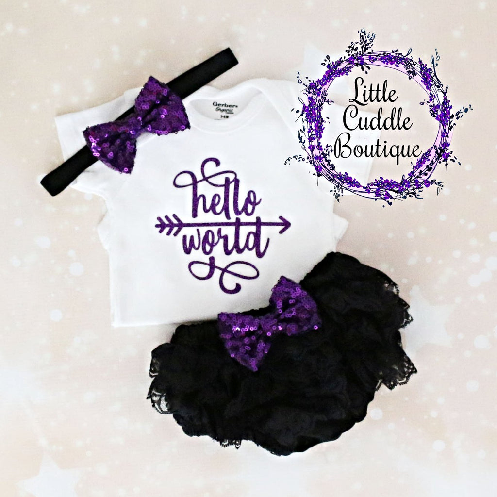 Hello World Baby Bloomers Outfit