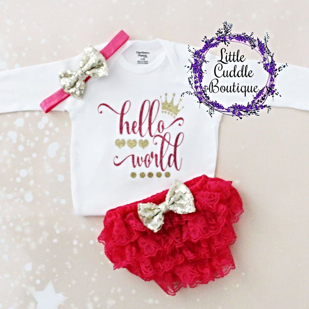 Hello World Baby Outfit Bloomers